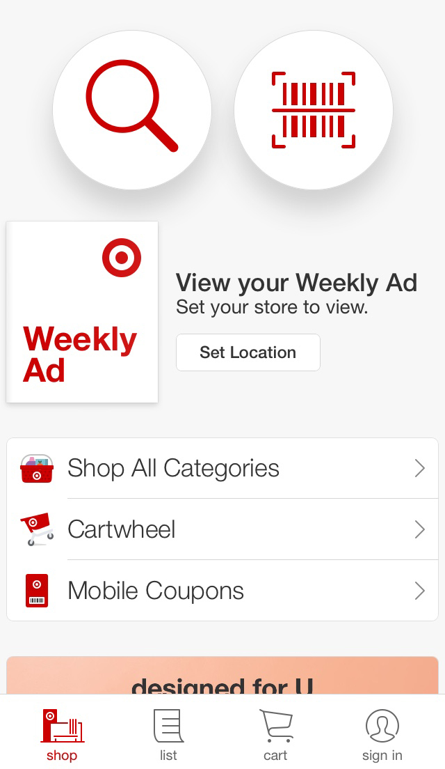 The Target app