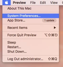 System preferences on a Macbook