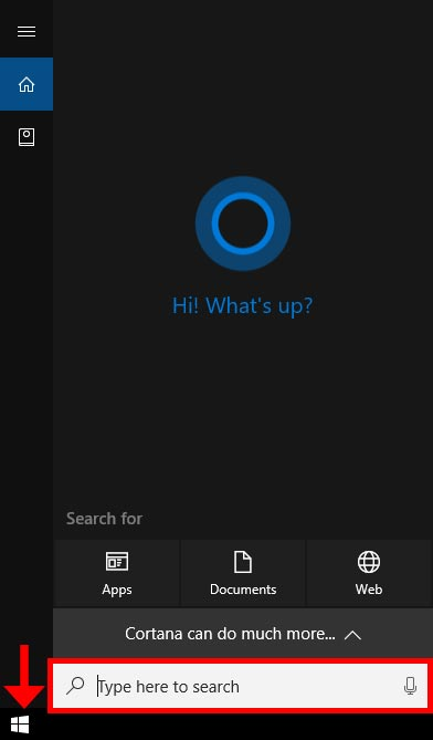 Windows initial search screen
